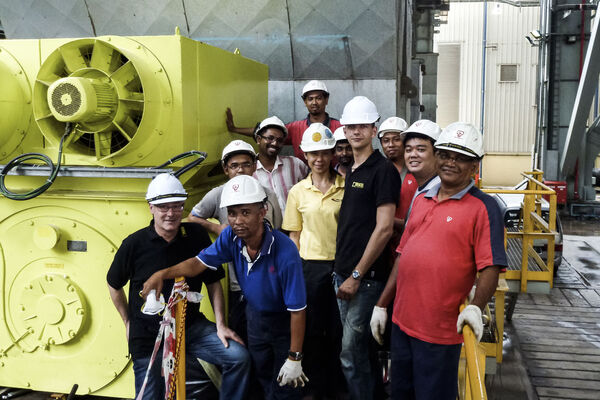 Commissioning of a 11 kV squirrel cage motor in Malaysia - onsite team